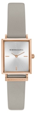 BCBGMAXAZRIA Ladies Rectangle Gray Genuine Leather Strap Watch, 22mm x 23mm