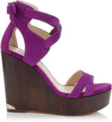Jimmy Choo NAOMI 120 Madeline Purple Suede Cuoio Covered Wedges
