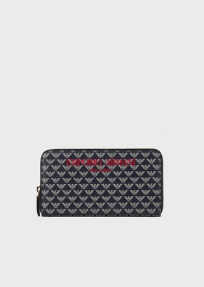 Emporio Armani Full-Zip Wallet With All-Over Monogram