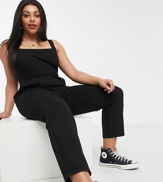 ASOS DESIGN Curve denim square neck fitted jumpsuit in washed black