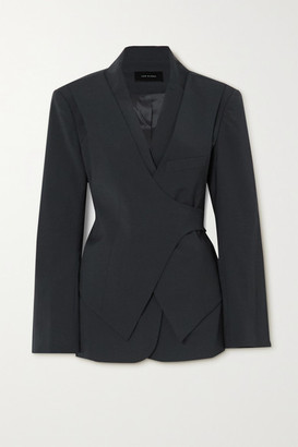 Low Classic Layered Woven Wrap Blazer - Charcoal