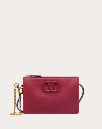 Valentino Vsling Grainy Calfskin Pouch With Adjustable Strap Women Raspberry Pink 100% Pelle Di Vitello - Bos Taurus OneSize