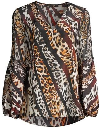 Kobi Halperin Fallon Mix Leopard-Print Silk Blouse