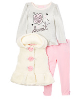 Kids Headquarters White & Gray 'Sweet' Stripe Top Set - Infant Toddler & Girls