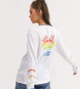Santa Cruz Horizon long sleeve t-shirt with arm and back print in white Exclusive to ASOS