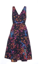 Saloni Jess floral-print textured-crepe dress