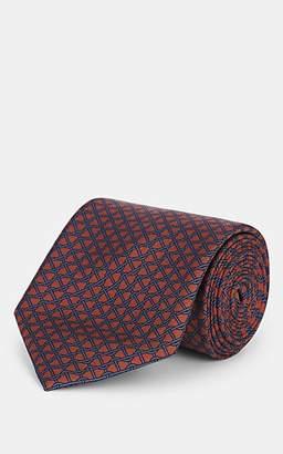 Brioni Men's Chain-Print Silk Necktie - Rust