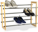 Sunbeam 3-Tier Expandable Wood-Paneled Shoe Rack