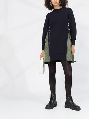Sacai Gusset-Detail Sweatshirt Dress