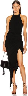 Alexandre Vauthier Ruched Halter Asymmetric Dress in Black | FWRD