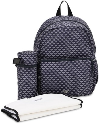 Emporio Armani ALL OVER LOGO NYLON CHANGING BACKPACK