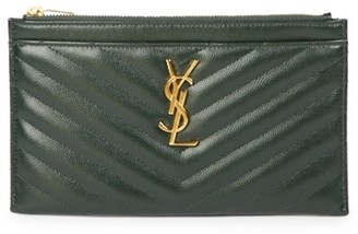 Saint Laurent Monogram Matelasse Leather Zip Pouch