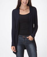 Bellino Dark Navy Hooded Open Cardigan