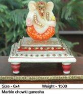 Radha Krishna Shop Marble Chowki Ganesh Minakari Work Statue