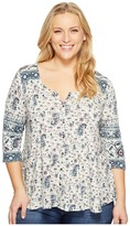 Lucky Brand Plus Size Paisley Swing Top Women's Clothing