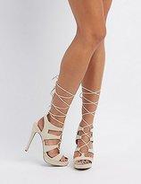 Charlotte Russe Strappy Lace-Up Platform Dress Sandals