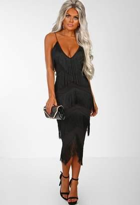 Pink Boutique Moulin Rouge Black Tassel Bodycon Midi Dress