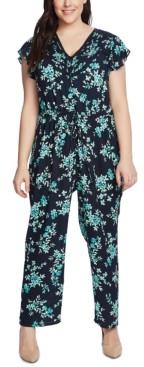 CeCe Plus Size Pintuck-Trim Jumpsuit