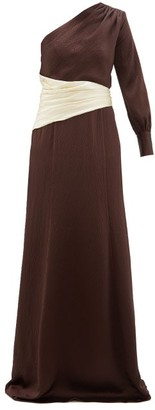 Rebecca De Ravenel Helga One-shoulder Hammered-silk Gown - Brown White