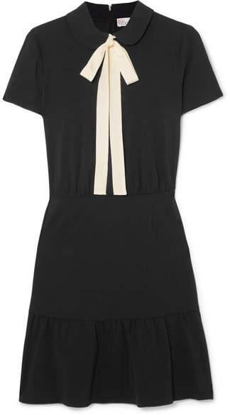 RED Valentino Pussy-bow Stretch-crepe Mini Dress - Black