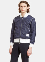 Thom Browne Men's Technical Bouclé Knit Lined Bomber Jacket In Navy
