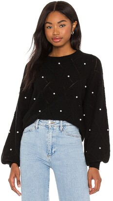 Autumn Cashmere Puff Sleeve Pointelle With Pearls Sweater