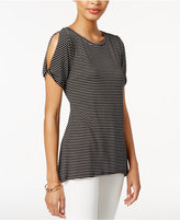 Bar III Striped Cold-Shoulder T-Shirt, Only at Macy's