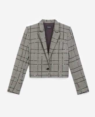 The Kooples Grey suit jacket with check motif and sequins