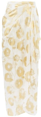 Halpern Metallic Floral-print Cotton-voile Skirt - White Gold