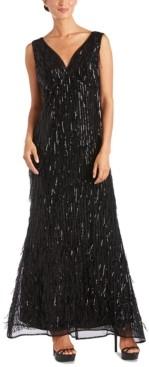 R & M Richards Sequin-Fringe Gown