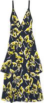 Marni Ruffled floral-print matelassé dress