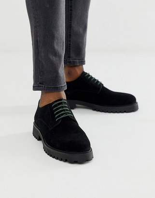 Walk London sean derby shoes in black suede