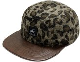 City Hunter Cn430 5 Panel Wool Leopard Leather Brim Biker Hat - Brown