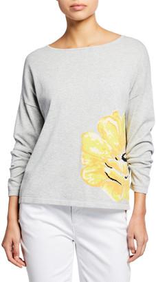 Joan Vass Long-Sleeve Flower Intarsia Cotton Sweater
