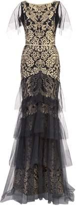 Marchesa flutter sleeve metallic embroidered gown