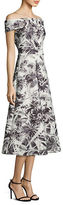 Theia Floral Printed Off-the-Shoulder Tea Dress