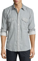 7 For All Mankind Double-Face Melange Long-Sleeve Sport Shirt, Pale Gray