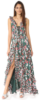 Tanya Taylor Floral Ikat Silk Stripe Oksana Dress
