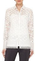 Akris Geometric Lace Button-Front Blouse