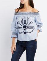 Charlotte Russe Floral Embroidered Off-The-Shoulder Top