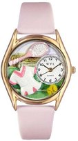 Whimsical Watches Kids' C0810015 Classic Gold Tennis Female Pink Leather And Goldtone Watch