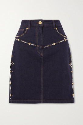 Versace - Embellished Denim Mini Skirt - Indigo