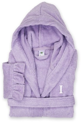 Linum Home Textiles Turkish Cotton Kid's Personalized Terry Ruffle Hooded Bathrobe