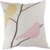 "BLUE DOLPHIN Decorative Emboirdery Birds Floral Throw Pillow 18"" White"