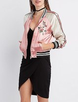 Charlotte Russe Satin Embroidered Bomber Jacket