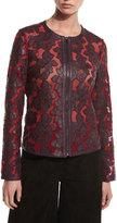 Neiman Marcus Floral Leather & Mesh Moto Jacket, Bordeaux/Red