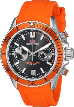 Seapro Men's Scuba Dragon Stainless Steel Quartz Watch with Silicone Strap Orange 22 (Model: SP0331)