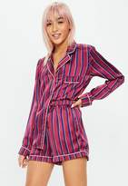 Missguided Pink Stripe Short Satin Pajama Set