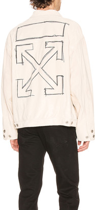 Off-White Taft Point Leather Jacket in Sand & Black | FWRD