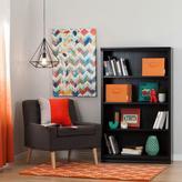 South Shore Morgan 4-Shelf Bookcase with 2 Canvas Storage Baskets in Black Oak